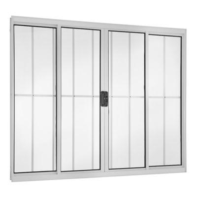 Janela de Correr Alumínio Branco 4 Folhas Com Grade Central 100x150x8cm Ecosul