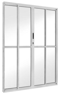 Porta de Correr Alumínio Branco 4 Folhas Central 210x200x11,5cm Ecosul