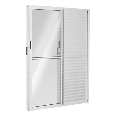 Porta Balcão Veneziana de Correr Alumínio Branco 3 Folhas Direita 210x120x11,5cm Ecosul