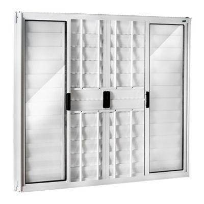 Janela Veneziana Alumínio Branco 6 Folhas Com Grade Central 100x150x8cm Ecosul