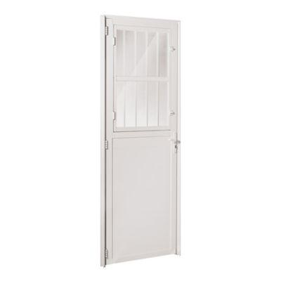 Porta Postigo Lambri Alumínio Branco Esquerda 210x90x6cm Fortsul