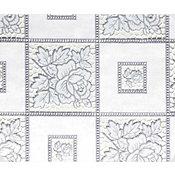 Toalha Rendeira em PVC 1,32x22m Branco e Cinza