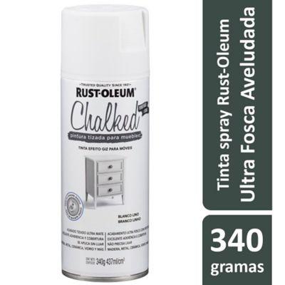 Tinta Spray Chalked 340G Efeito Giz/Aveludado Ultra Fosco Branco Linho Rust-Oleum
