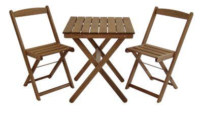 Kit Naipe com Mesa e 2 Cadeiras Dobráveis Mestra Marrom