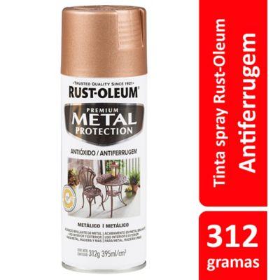 Tinta Spray Metal Protection 312G Antiferrugem Acabamento Metálico Ouro Rosa Rust-Oleum