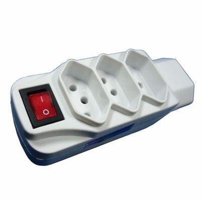 Pino Multiplicador Com Interruptor 3 Pinos 2P+T 10A 4 Tomadas