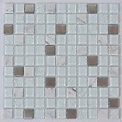 Pastilha de Vidro Elegance 30x30cm Branco Glassline