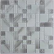 Pastilha de Vidro Gelo Carrara 30x30cm Cinza e Branco
