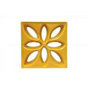 Tijolo Vazado Esmaltado Lótus 25,5x25,5cm Amarelo Girassol