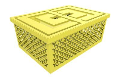 Cesto Organizador com Tampa 18,2x32,7x45,2cm Amarelo