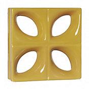 Tijolo Vazado Esmaltado Folha 24,5x24,5cm Amarelo Girassol