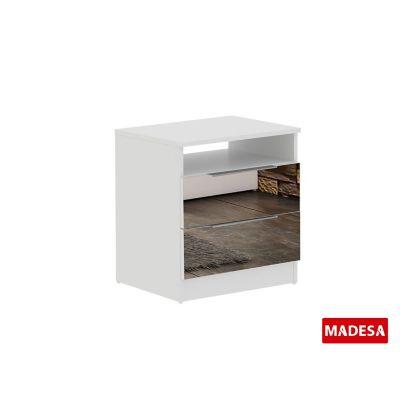 Mesa de Cabeceira Camarim Madeira 37x53x50cm 2 Gavetas Branco