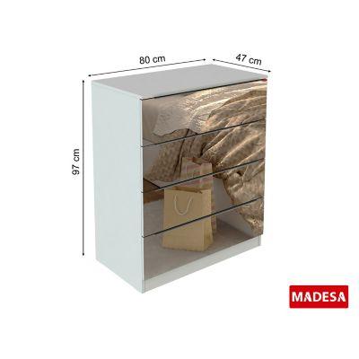 Comoda New Jersey Madeira Espelhada 47x97x80cm 4 Gavetas Bra