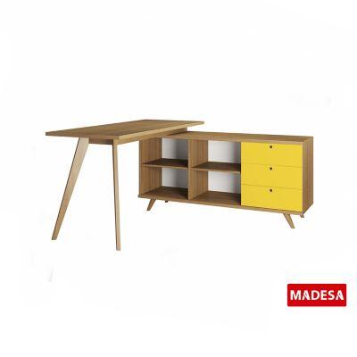 Escrivaninha Geo Rustico 140x75x155cm 3 Gavetas Amarelo