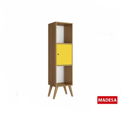 Estante Geo Madeira Rustico 30x125x36cm 1 Porta Amarelo