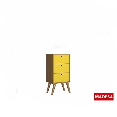 Gaveteiro Geo Madeira Rustico 30x74x36cm 3 Gavetas Amarelo