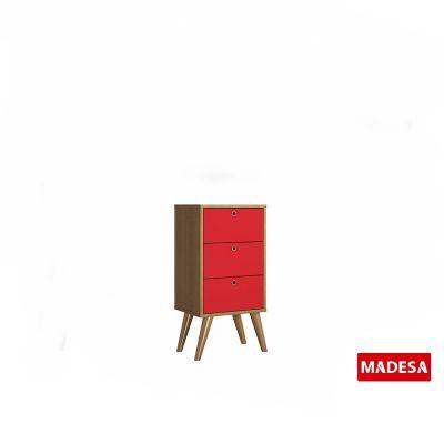 Gaveteiro Geo Madeira Rustico 30x74x36cm 3 Gavetas Vermelho