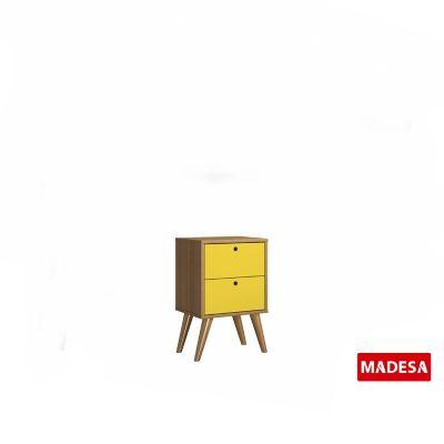Gaveteiro Geo Madeira Rustico 30x56x36cm 2 Gavetas Amarelo