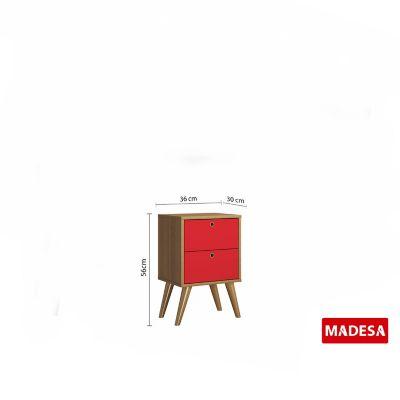 Gaveteiro Geo Madeira Rustico 30x56x36cm 2 Gavetas Vermelho