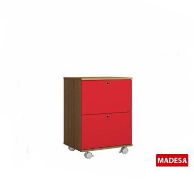 Gaveteiro Geo Madeira Rustico 38x65x48cm 2 Gavetas Vermelho