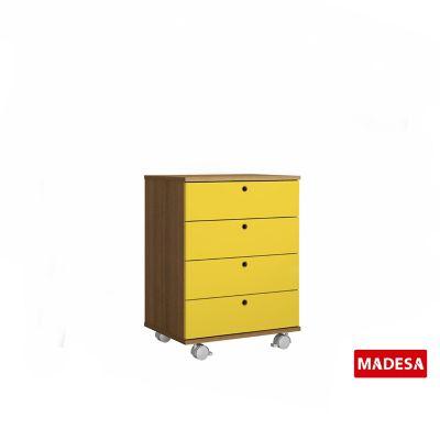 Gaveteiro Geo Madeira Rustico 38x65x48cm 4 Gavetas Amarelo