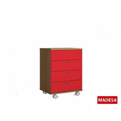 Gaveteiro Geo Madeira Rustico 38x65x48cm 4 Gavetas Vermelho