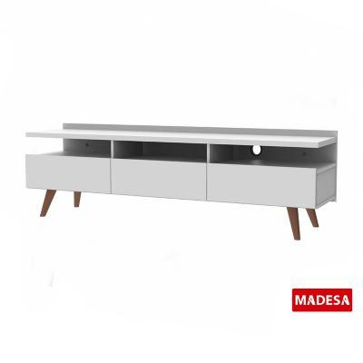 Rack Madeira Metz com 3 Portas 40x55x160cm Branco