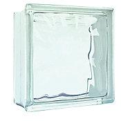 Bloco de Vidro Ondulado 19x19x8cm Transparente