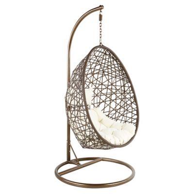 Cadeira Pendente Egg de Ratan PE Marrom