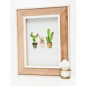 Porta-Retrato Cactus Spines 25x20cm Branco e Bege