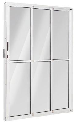 Porta de Correr Alumínio Branco 3 Folhas Esquerda 210x150x11,5cm Ecosul