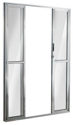 Porta de Correr Alumínio Brilhante 4 Folhas Central 210x200x11,5cm Ecosul