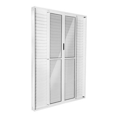 Porta Balcão Veneziana de Correr Alumínio  6 Folhas Central 210x200x11,5cm Ecosul