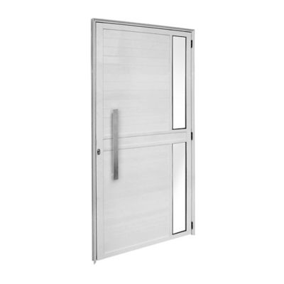 Porta Lambri e Visor Alumínio Branco Esquerda 210x100x6cm Fortsul