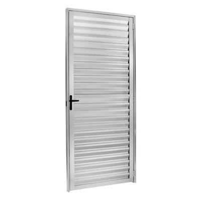 Porta Veneziana Ventilada Alumínio Brilhante Direita 210x70x5cm Ecosul
