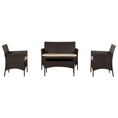 Conjunto de Mesa e Cadeira para Terraço Milano 4 Peças Marrom