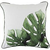 Almofada Hidrorepelente Leaf 45x45cm Branco e Verde