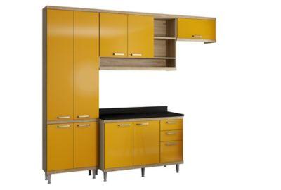 Cozinha Sicília Tampo Argila 51,5x231,5cm Amarelo
