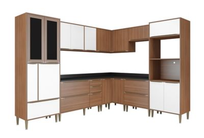 Cozinha Tampo Nogueira 226,5x210cm Preto Branco