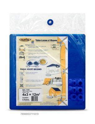 Talen Lonas com 6 Ilhoses 4x3cm Azul