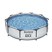 Piscina Estrutural 4.678L Redondo 305x305x76cm Steel Pro Max Azul