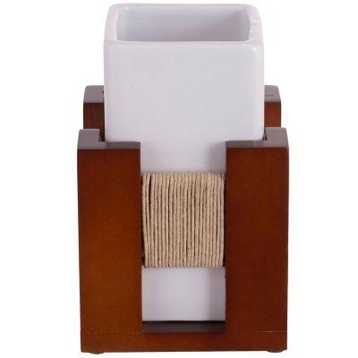 Copo para Banheiro Wood Marrom e Branco