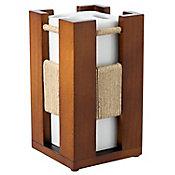 Porta Escovas de Dente Wood Marrom e Branco