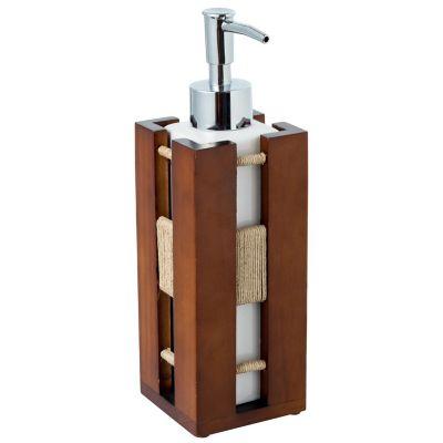 Dispenser para Sabonete Líquido Wood Marrom e Branco