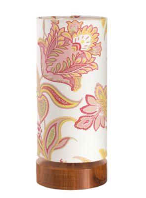 Luminária de Mesa Base Natural Floral 110/220V Rosa Claro
