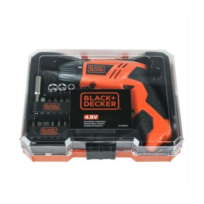 Parafusadeira sem Fio 4.8V 16 Acessórios BD Laranja e Preto Black+Decker