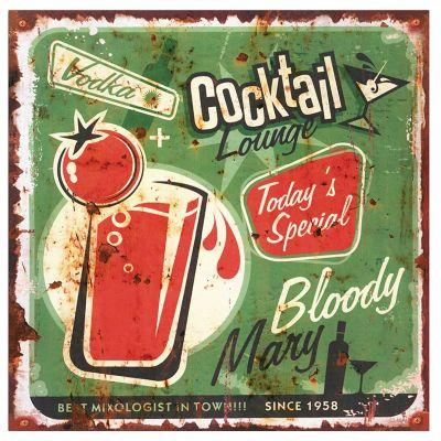 Placa Metal Cocktail 30cm Colorido