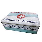 Lata Metal Medical 120x13x68cm Branco e Azul