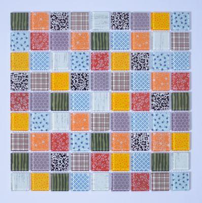 Pastilha de Vidro Patchwork Fantasia 29,3x29,3cm Multicolor