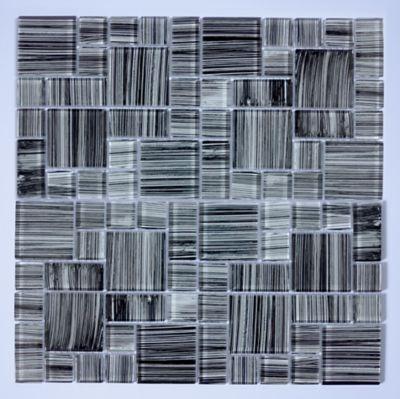 Pastilha de Vidro Multicolor Grafiato 30x30cm Preto
